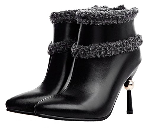 HooH Women's Pointed Toe High Heel Boots Winter Warm Boots Black T3f4aQ