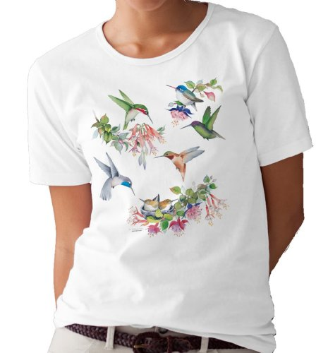(Hummingbirds of North America T-Shirt/tee by Valerie Pfeiffer - X-Large White)