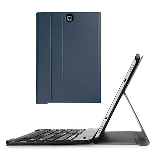 (Fintie Keyboard Case for Samsung Galaxy Tab S2 9.7 - Slim Fit Light Weight Stand Cover with Magnetically Detachable Wireless Bluetooth Keyboard for Samsung Galaxy Tab S2 9.7-inch Tablet, Navy)