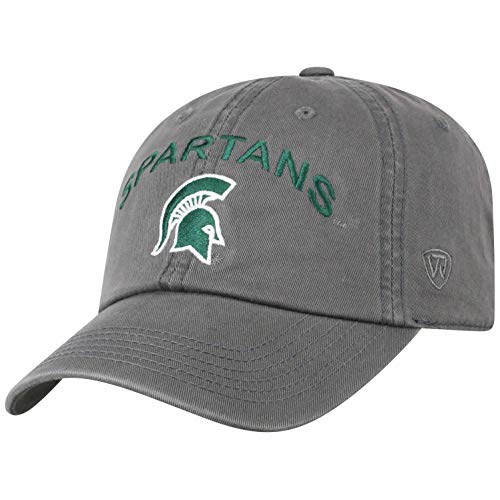NCAA Michigan State Spartans Men's Relaxed Fit Charcoal Arch Adjustable Hat, - Spartans Ncaa Michigan State