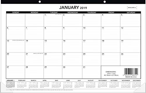 (Desk Calendar 2019, Monthly Wall and Desk Pad Planner, Large Ruled Blocks, 17
