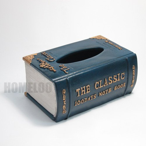Ancient Classic Book Style Tissue Box Cover,old World European Design Tissue Paper Holder,royal Blue