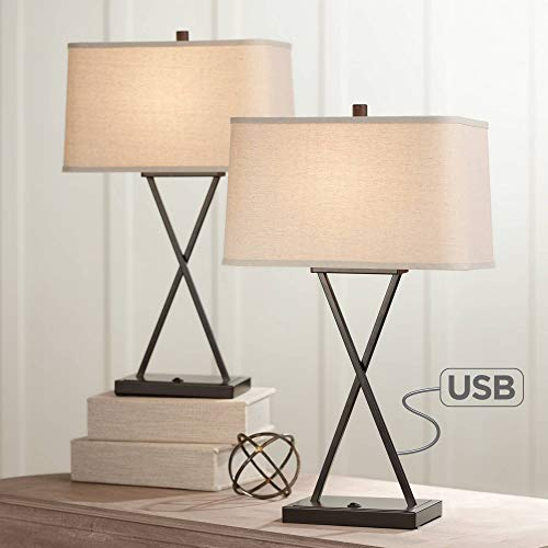 Megan Modern Table Lamps Set of 2 with Hotel Style USB Charging Port LED Bronze Metal Rectangular Fabric Shade for Living Room Bedroom - Franklin Iron ()