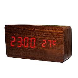Ieasycan Digital LED Alarm Clock Despertador Sound Control USB/AAA Temperature Display Electronic Wooden Desktop Table Clock For Gift