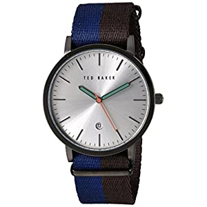 Ted Baker Men's Smart Casual Stainless Steel Japanese-Quartz Watch with Leather Strap, Blue, 20 (Model: 10026315)