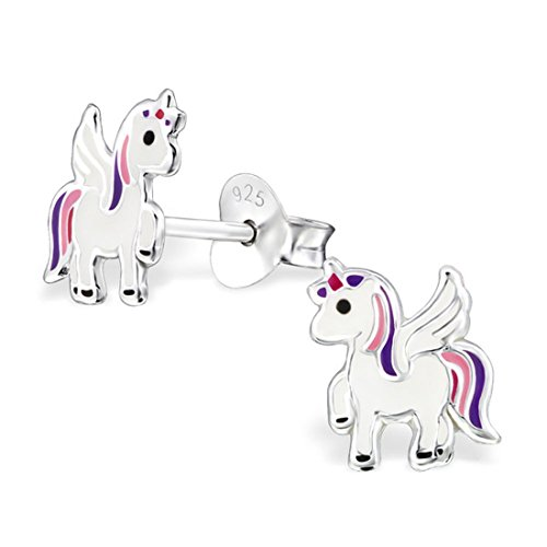 [Small White Pink Purple Pegasus Unicorn Pony Horse Studs Earrings Girls 925 Stering Silver (E30567) (30567)] (Pony For Sale Good With Kids Halloween Costume)