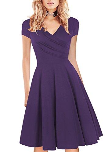 Bridesmaid Dress Womens Elegant Slim Fit Classical Homecoming Sheath Dress for Party Faux Wrap Swing 163 Purple L