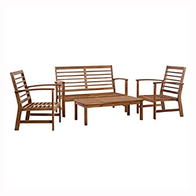 K&A Company Outdoor Furniture Set, 4 Piece Garden Lounge Set Solid Acacia Wood