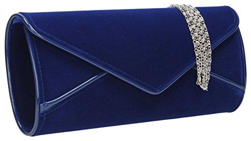 SwankySwansPerry Suede Velvet Envelope - Sacchetto donna Blu (Blu reale)