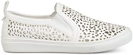 c06700b4f8a18 Brinley Co. Womens Faux Leather Pull-on Laser-Cut Sneakers White ...