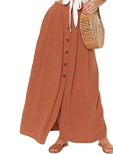 Asvivid Womens Solid Boho Button Down Elastic Waist Pocket Floor Length Chiffon Loose A-Line Maxi Skirt M Orange