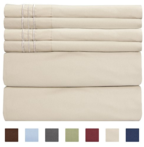 CGK Unlimited Extra Deep Pocket Sheets - Super Deep Pocket Bed Sheet Set - Deep Fitted Flat Sheet - California King Size Beige - Cal King - Tan - Super Pillow Top Set