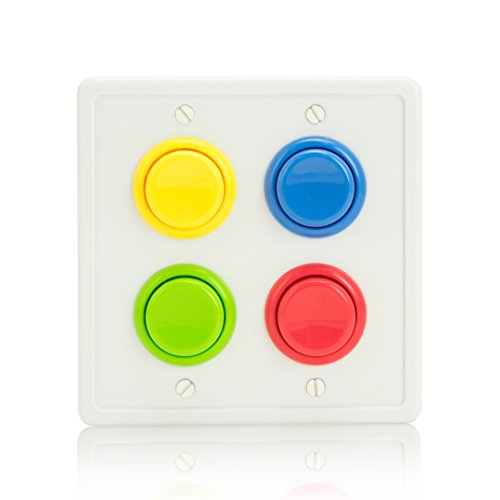 Arcade Light Switch Plate Cover, (White/Red,Blue,Green,Yellow) Double Switch, 2-Gang Standard Size Rocker Wall Plate, Game Room Decorator, Kid Bedroom Wallplate, Faceplate Replacement