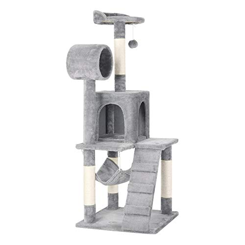 Yaheetech Cat Tree Tower Kitten Condo Scratching Post with Hammock Tunnel 51'(Light Gray)