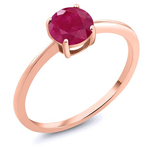 Gem Stone King 10K Rose Gold 1.00 Ct Round Red Ruby Solitaire Engagement Ring (Size 7) ()