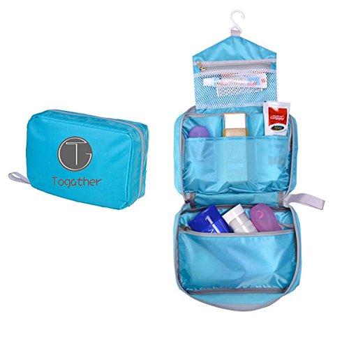 Togather® Portable Kulturbeutel Tasche Wash Bag Bad hängende Tasche Tasche Reißverschluss Storage Bag Schublade Teiler kosmetische Reiseveranstalter mit Multi Taschen Haken für Männer Frauen Mädchen jungen Kinder (Blau)