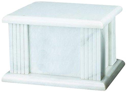 Elegante Beautifully Crafted Genuine Marble White Grain Cremation Urn ()