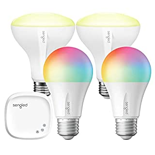 Smart Light Bulb,Sengled Color Changing Lights,E26 RGB Light Bulbs That Work with Alexa,Echo,Google Home,8.6W(60W Equivalent),Soft White 2000K-6500K,800LM, 2 Color Lights & 2 Br30 LED Bulbs & 1 Hub