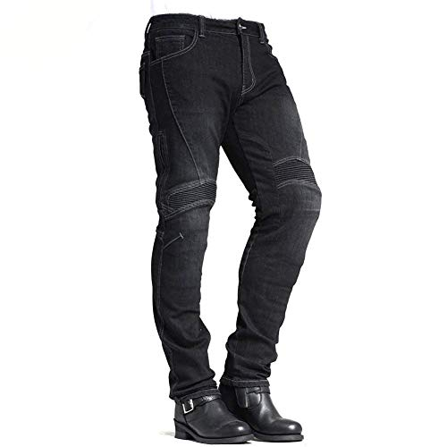 MAXLER Jean Biker Jeans for Men Motorcycle Motorbike Riding Jeans 1604 Grey 30 ()