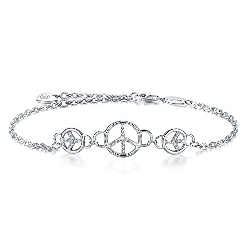 (BlingGem Women's 18K White Gold-Plated Sterling Silver Cubic Zirconia Peace Sign Bracelet)