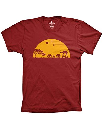 Guerrilla Tees at-at Movie Shirts Funny Tshirts Graphic Space tee, Cardinal, Medium