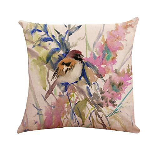 Lin Taille Home De Coton D'oreiller Coussin Imprimé Housse Oiseau En Taie Style Decor D Classique Arbre Chinois Malloom 6R4wAHn