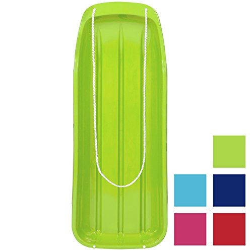 Best Choice Products 48in Kids Outdoor Plastic Sport Toboggan Winter Snow Sled Board Toy w/Pull Rope - Light Green
