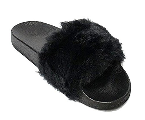 Adorllya Women Faux Fur Fluffy Fuzzy Slides House Slippers Sandals Flip Flops Furry Slides Sandals Wide Width Comfortable for Women Men(US 10.5 (Furry Slip Ons)