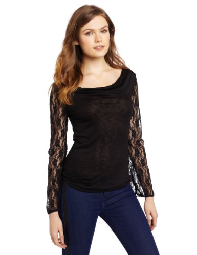 Star Vixen Women's Long Sleeve Lace And Slub Cowl Top, Black Solid, Large