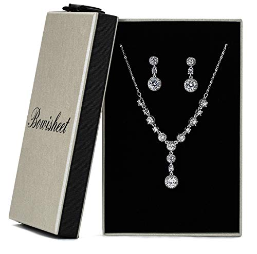 Bowisheet Women's Wedding Jewelry Sets Bridal Bridesmaid Round Created Austrian Crystal Necklace Earrings Party Jewelry Gift