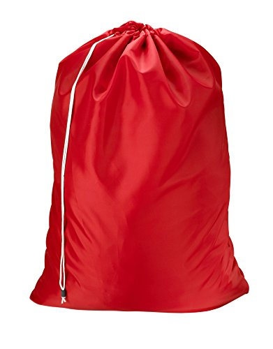 (Nylon Laundry Bag - Locking Drawstring Closure and Machine Washable. These Large Bags Will Fit a Laundry Basket or Hamper and Strong Enough to Carry up to Three Loads of Clothes. (Red))