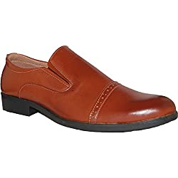 SHOE ARTISTS Bossman Light Brown Leather Lined Slip Ons, Size, 8