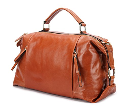 Borgasets Luxury Women's New Fashion Lady Vintage Shoulder Bag Handbag Tote Top-handle Purse Cross Body Big Capacity Casual Simple Style (brown) Bg2222brown