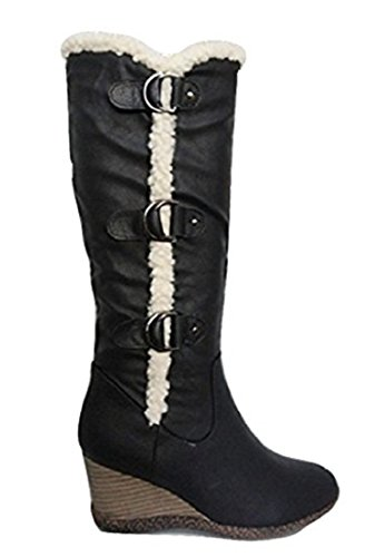 CORE COLLECTION DADIA schwarz Fell Detail Wedge kniehohe Stiefel