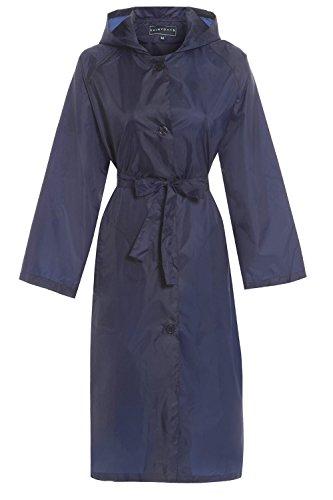 Hari Deals Trench-coat long  capuche pour femme, ultralger et impermable Bleu Marine