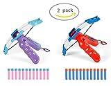 2-Pack Boys vs Girls Foam Dart Slingshot Air Blasters (Blue & Pink)