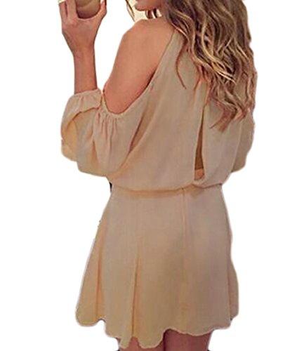 Coolred-femmes Salon En Mousseline De Soie Coupe Solide À Manches Longues En Robe Soleil Épaule Abricot