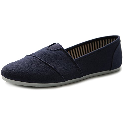 (Ollio Women Shoe Slip on Sneaker Canvas Flats ML031(8 B(M) US, Navy))