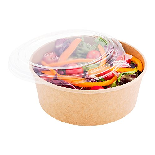 (Round Bio Salad Container, Food Container - Kraft Brown - Take Out & To Go - 44 oz - Disposable - 200ct Box - Restaurantware)