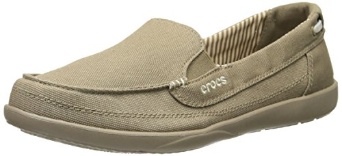 Crocs Women's Walu Canvas Boat Shoe, Khaki/Khaki, 6 M US