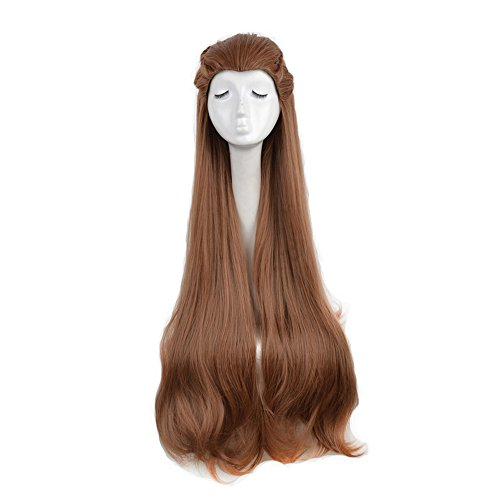 Tauriel Elf Costumes (Yuehong Cosplay Wig Brown Long Wavy Anime Fashion Cosplay Hair Full Wig)