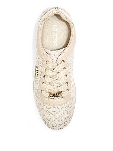 Accent Factory Logo Low Sneakers Fabric Gemma Natural Top Trim Women's GUESS qPctwRdt