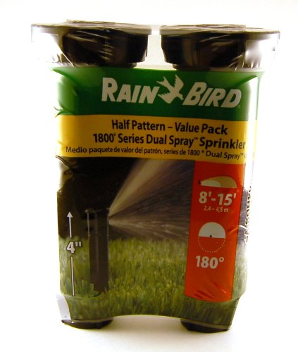 (Rain Bird Half Pattern1800 Series Dual Spray - 2 Pack - 4 inch 8' to 15