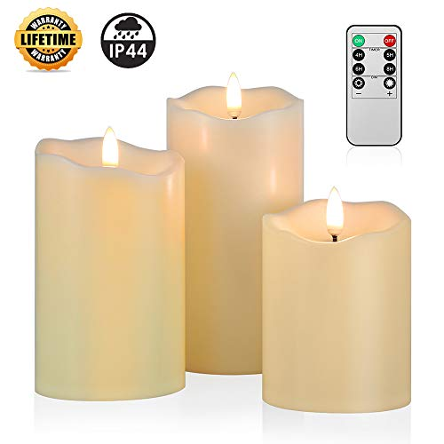 ANGELLOONG 2019 Upgraded Flickering Flameless Candles, Most Realistic Waterproof LED Candles with Remote and Timer, Set of 3 Battery Operated Pillar Candles for Kids Home Wedding Decoration (Candles Outdoor Battery)