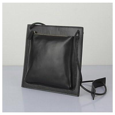 YJIUX Women Shoulder Bag Cowhide All Seasons Casual Square Zipper Camel Black