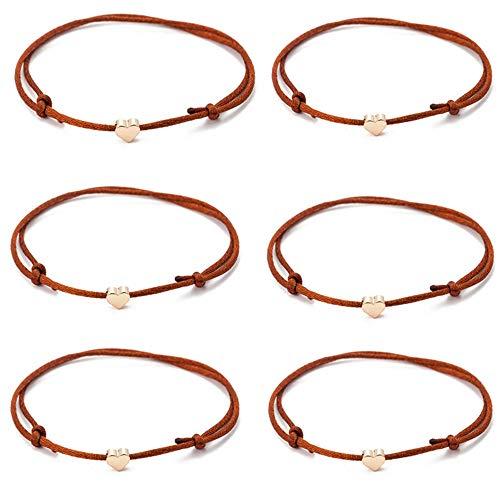 TOMLEE 6pcs Brown String Bracelets Gold Plated Heart Charm Handmade Adjustable String Bracelet (6PCS & Brown)