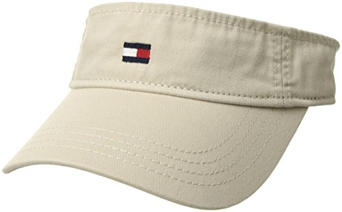 Tommy Hilfiger Men's Dad Hat Flag Solid Cotton Visor, Stone, - Visor Mens Polo