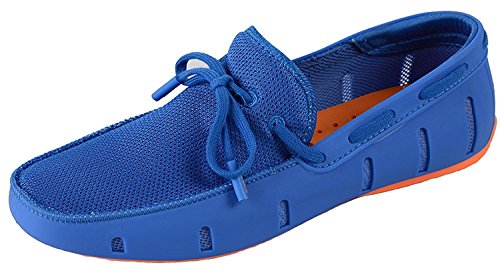 Adadila Men's Classic Braided Lace Loafer Breathable Slip On Ultra Light Shoes Blue-Orange 40