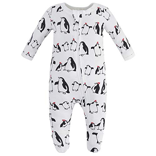 Owlivia Organic Cotton Baby Boy Girl Zip Front Sleep 'N Play, Footed Sleeper, Long Sleeve (Size 0-18 Month)(Newborn,Penguin) -