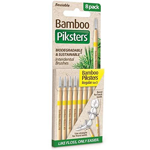 Piksters Bamboo Interdental Brush - Size 3 Yellow 0.60mm - 8 Brush Per Pack